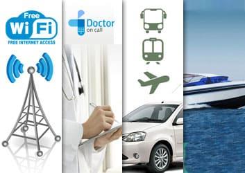Wifi,Travel Desk,Health & Swimming